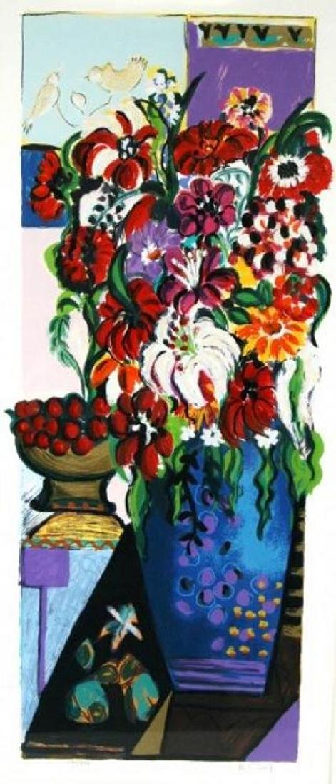 Israeli Art Bracha Guy Tarkay Style Floral Ltd Ed - 2