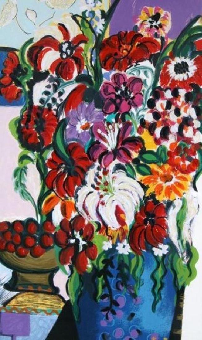 Israeli Art Bracha Guy Tarkay Style Floral Ltd Ed - 4