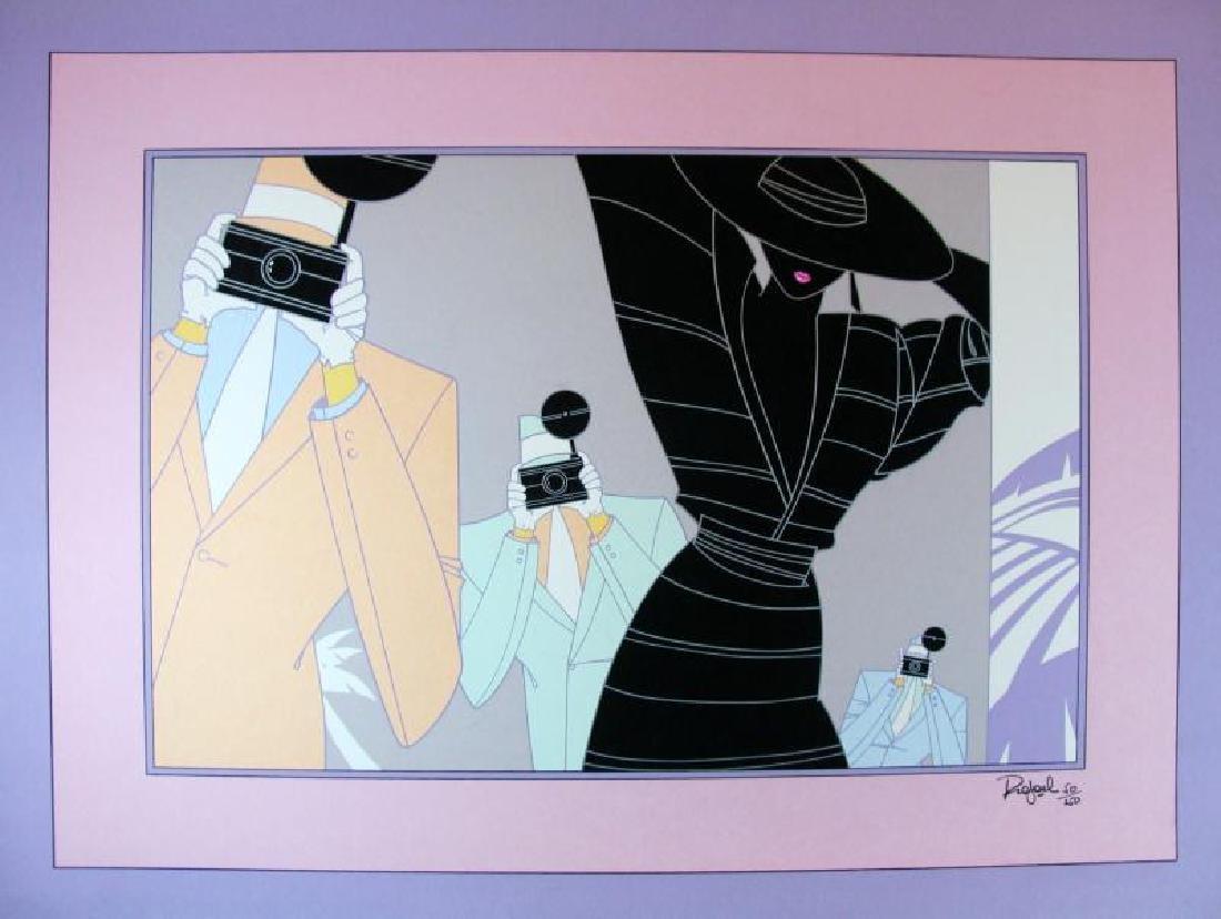 Fashion Shoot Art Deco Signed Litho Rafael Colorful