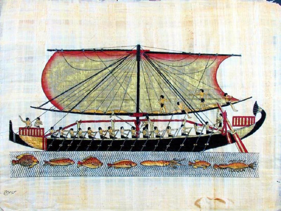 Original 26x37 LARGE Egyptian Art Papyrus Painting