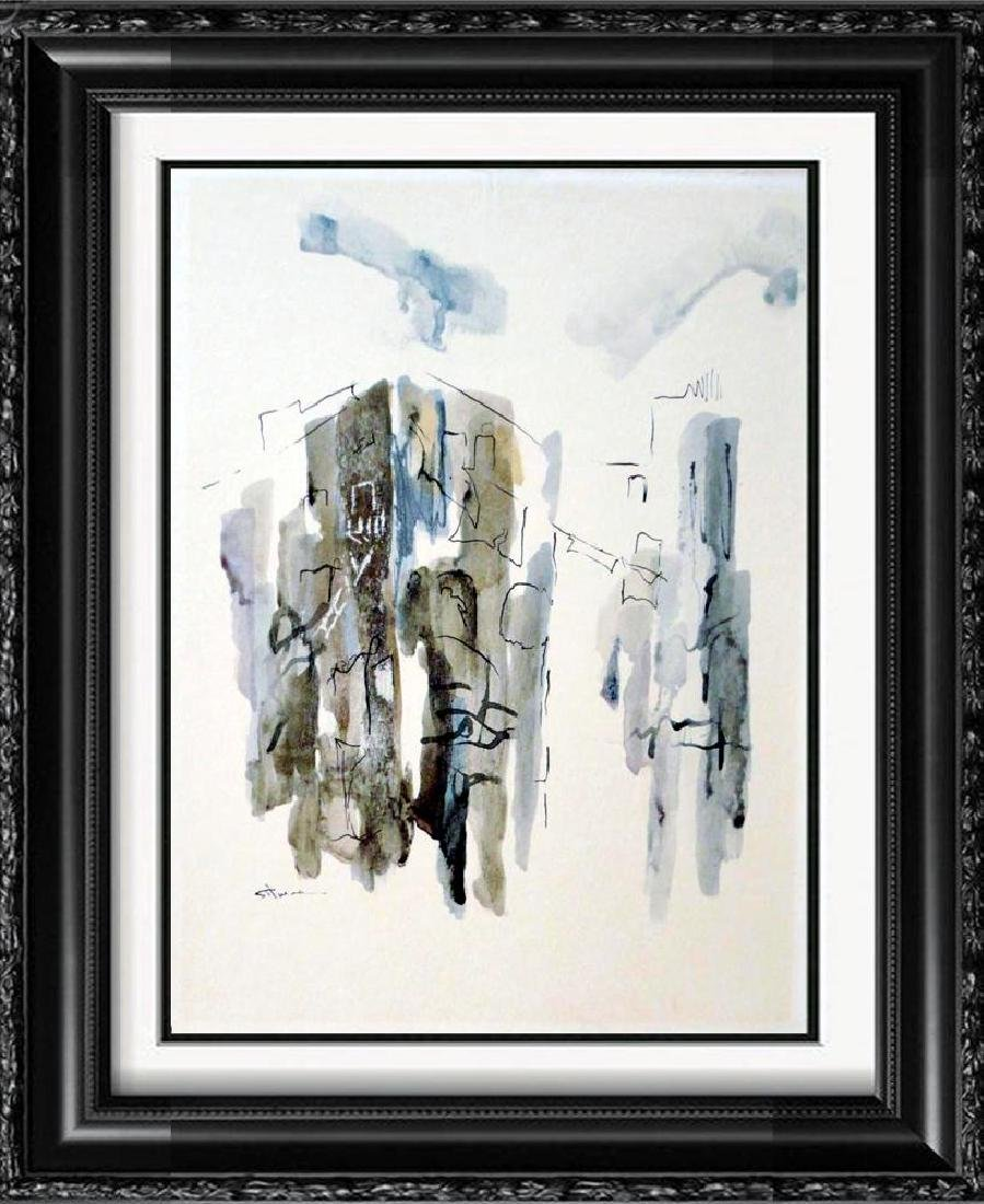 Beautiful Signed Original Watercolor on Board Abstract