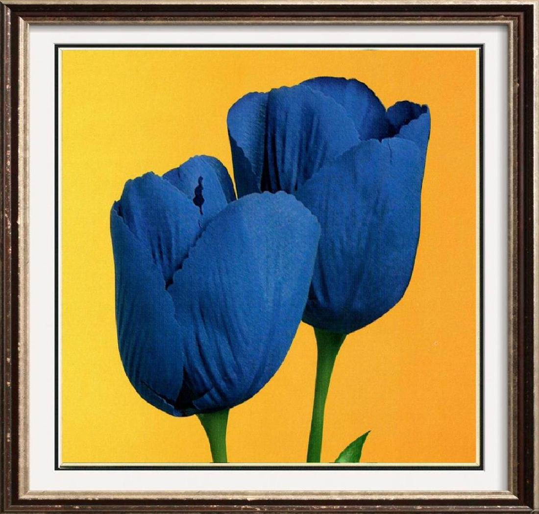 Blue Tulips On Gold Canvas Colored Giclee Sale