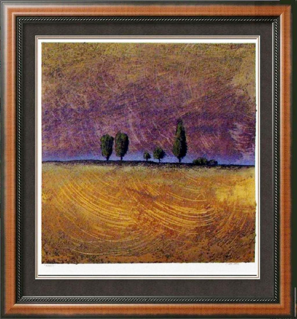 Modern Landscape Signed Original Painting on Paper