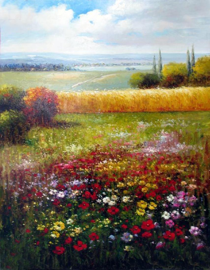 Colorful Floral Landscape Texture Italian Original RARE