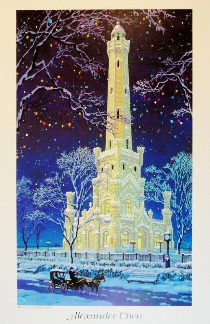 Old Water Tower Chicago Chen Art Colorful Print Sale