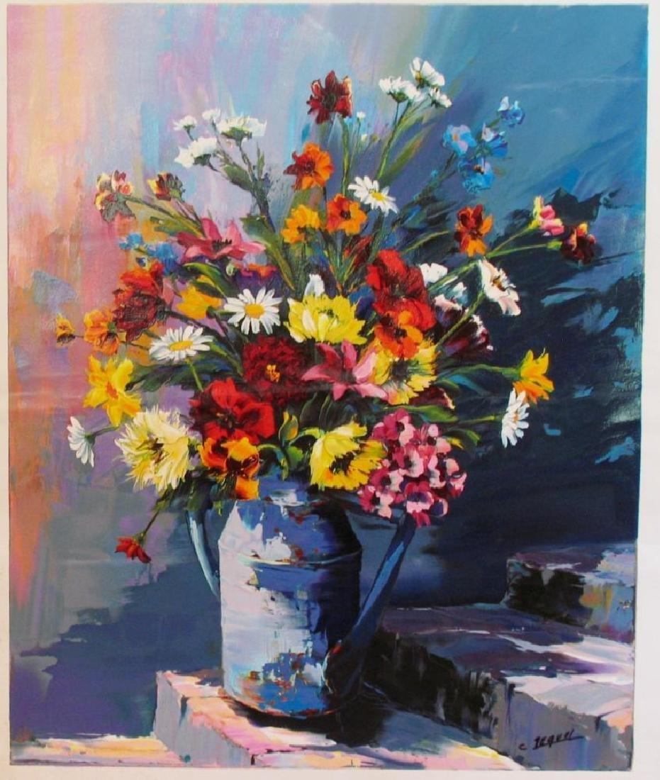 Original Painting Floral Still Life Signed Pequel - 2