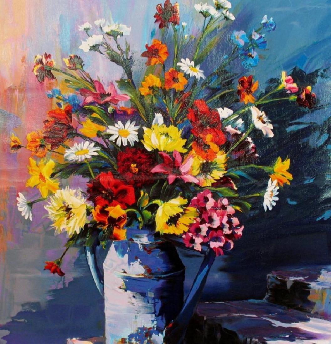 Original Painting Floral Still Life Signed Pequel - 3