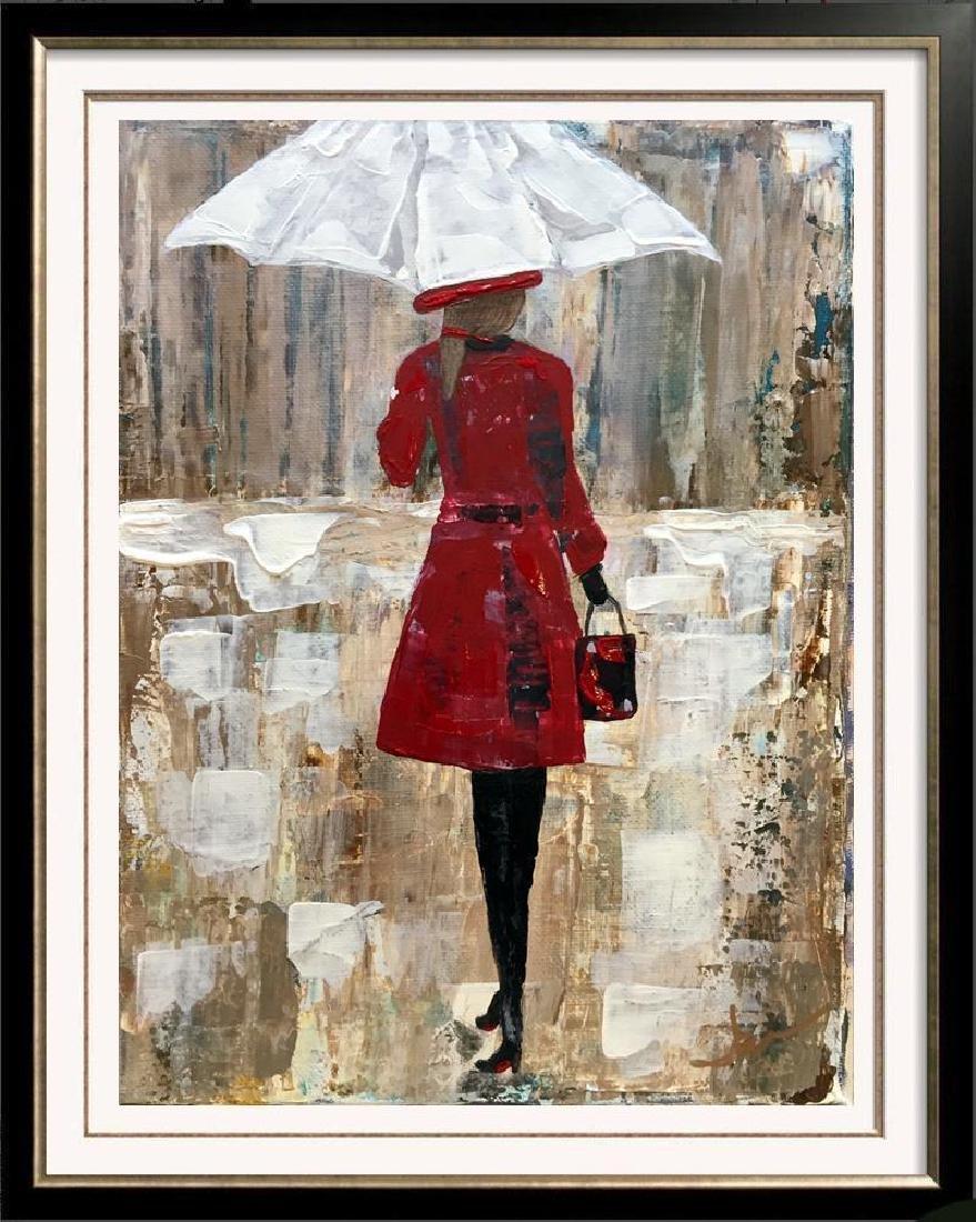 Girl with Umbrella Red Dress Bold Colors Original