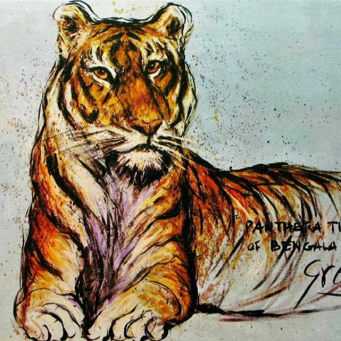Tiger Lithograph Signed Colorful Art For Sale - 2