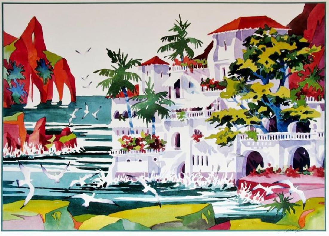 Ken Hawk Hand Signed Villa On Bird Rock Colorful