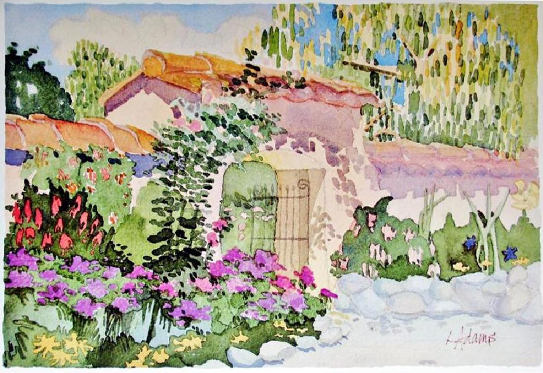 Linda Adams Kessler Plate Signed Garden Scene Carmel - 2