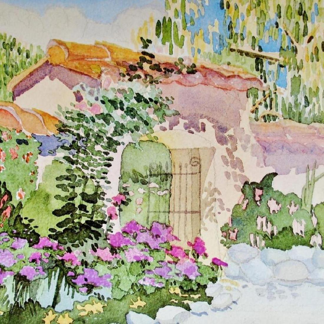 Linda Adams Kessler Plate Signed Garden Scene Carmel - 3