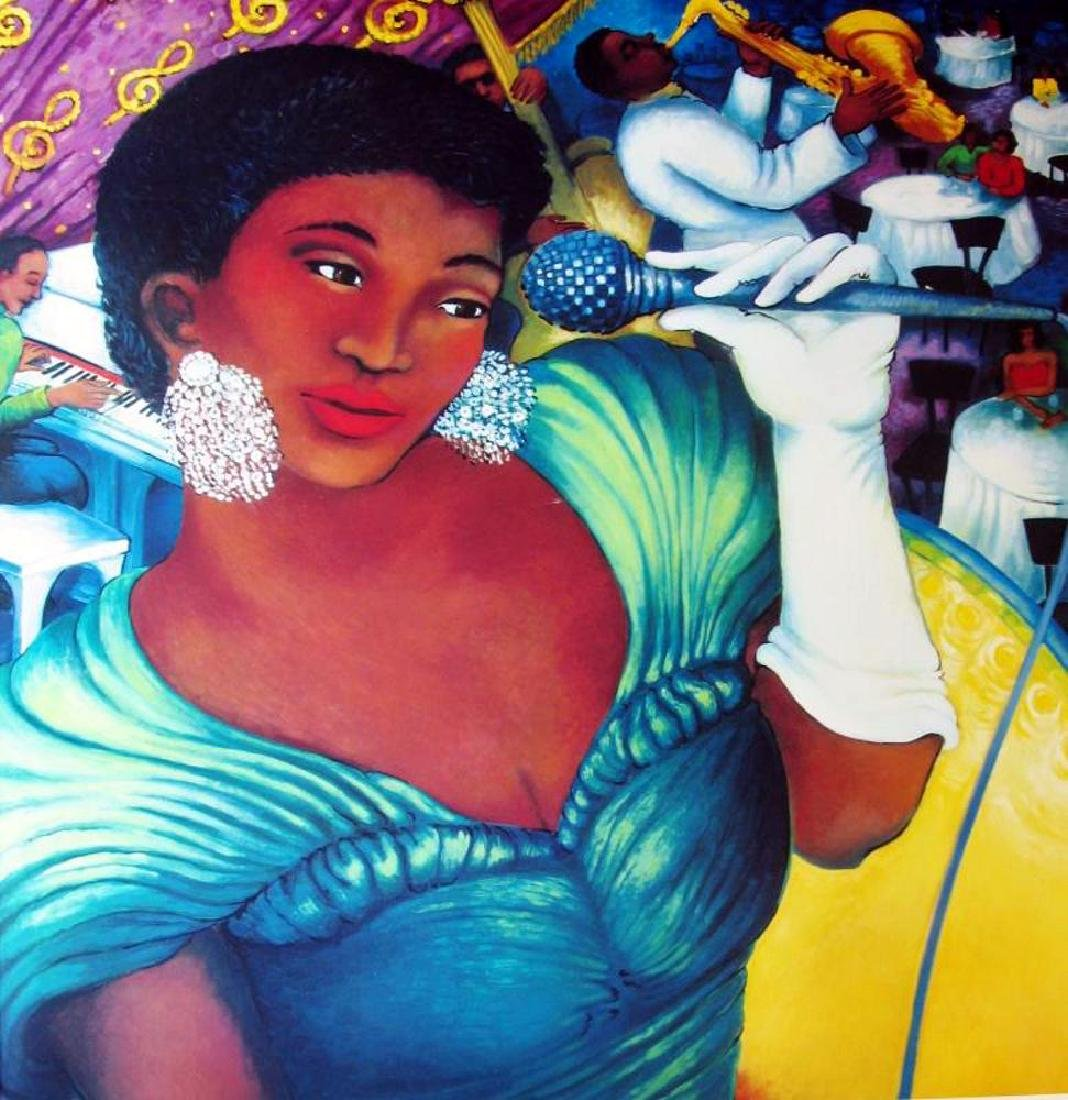 Lady Singer Large Colorful Jazz Poster