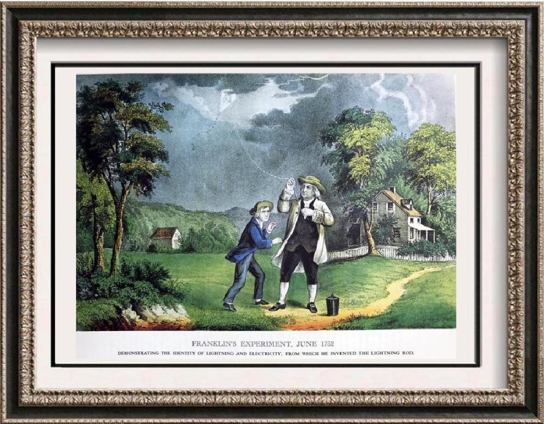 Franklins Experiment Color Lithographic Fine Art Print
