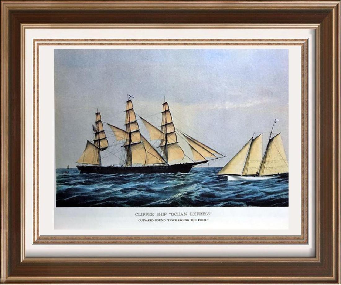 Clipper Ship Ocean Express Color Lithographic Fine Art