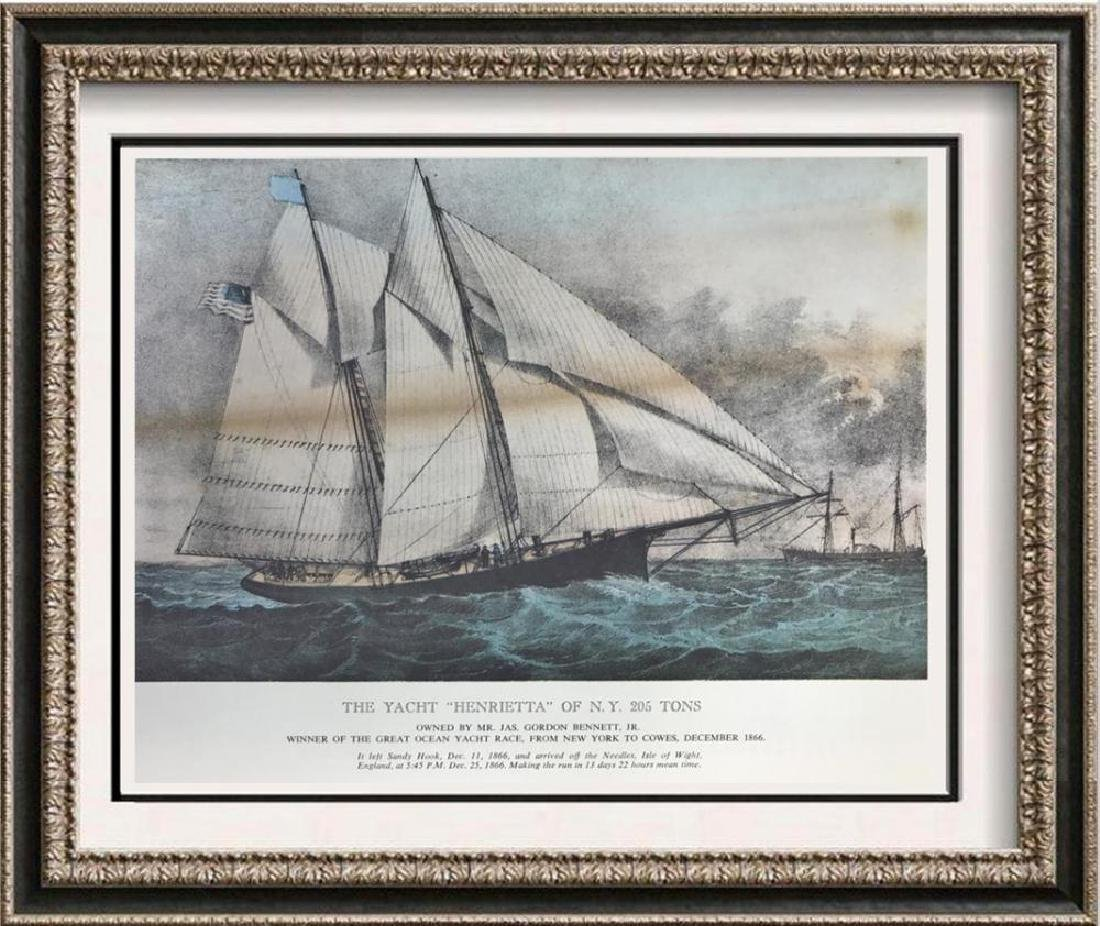 The Yacht Henrietta Of New York Color Lithographic Fine