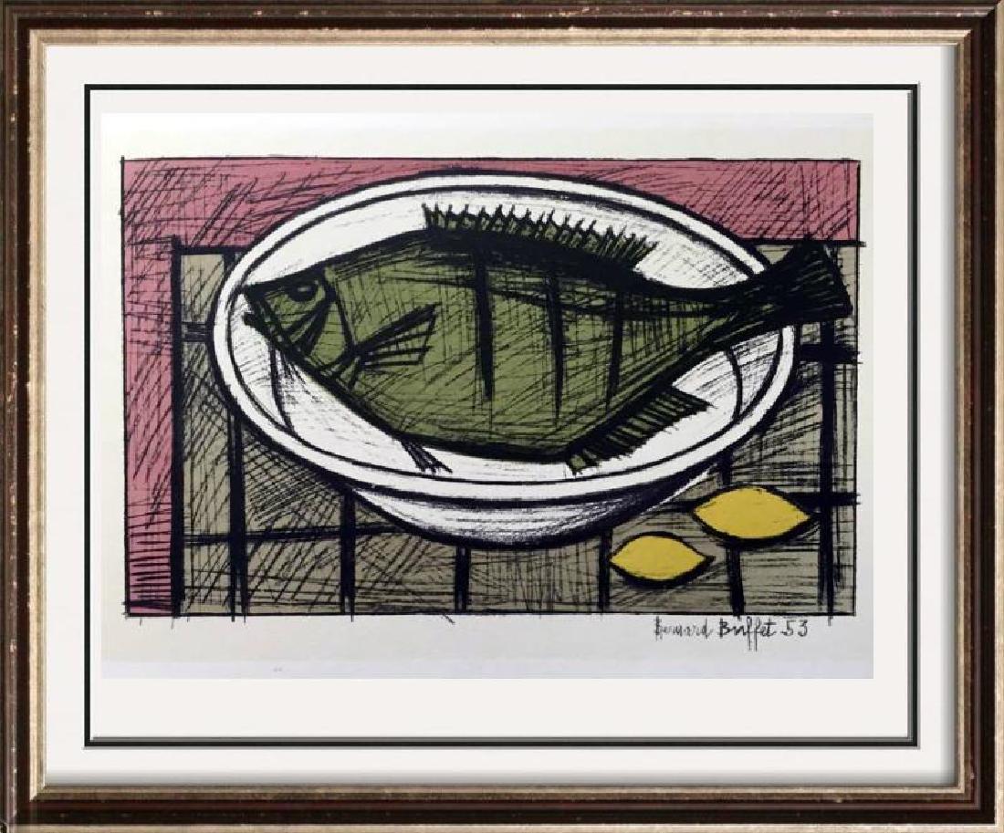 Bernard Buffet Fish Full Color Print, Executed in