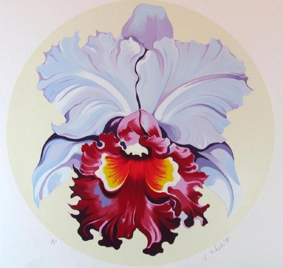 Lowell Nesbitt Orchid Ltd Ed Hand Signed Colorful Art - 2