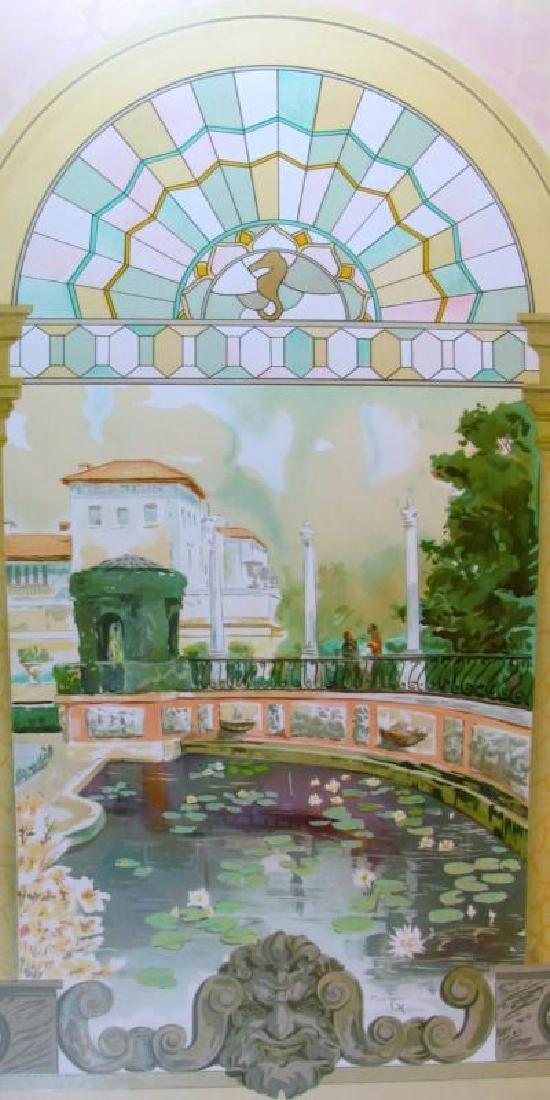 Stain Glass Bridge Scene Colorful Ltd Ed Liquidation
