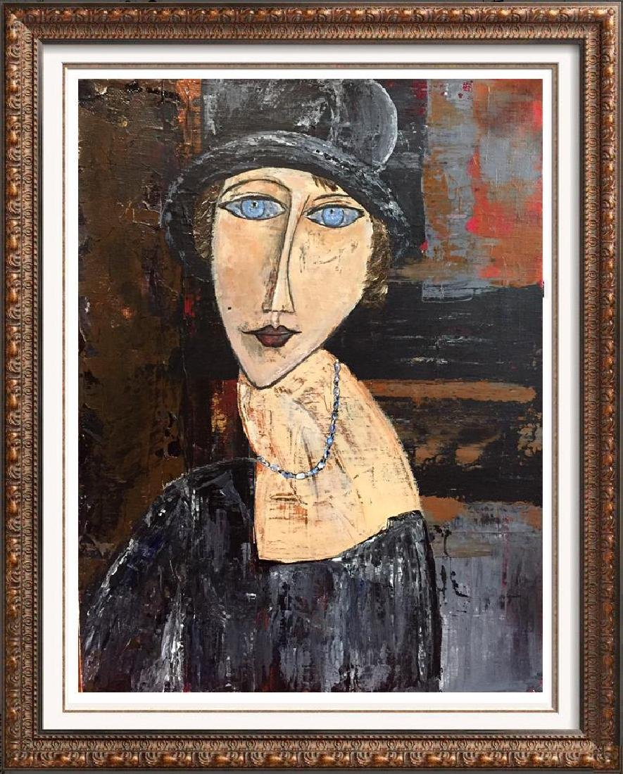 Hat & Necklace Original Painting Swahn Signed Canvas