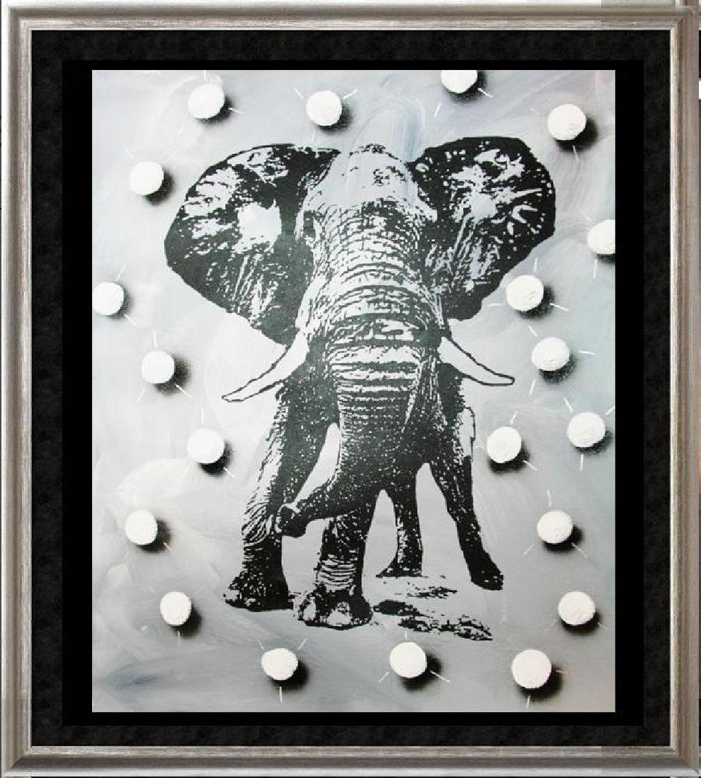 BLACK & WHITE ORIGINAL CANVAS ELEPHANT DEALER SALE