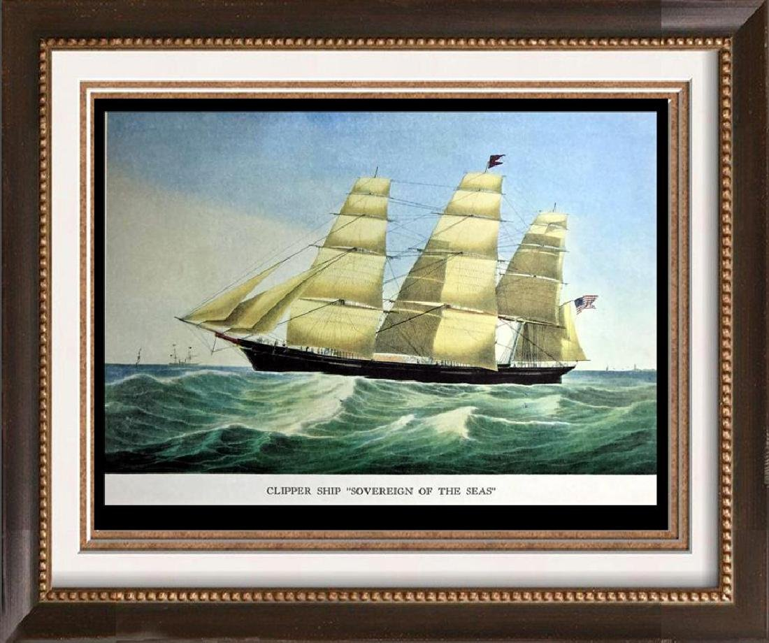 Clipper Ship Sovereign Of The Seas Color Lithographic