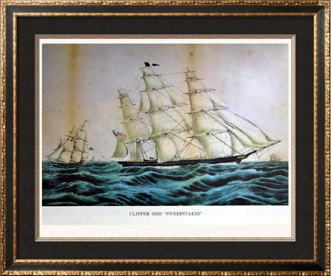 Clipper Ship Sweepstakes Color Lithographic Fine Art
