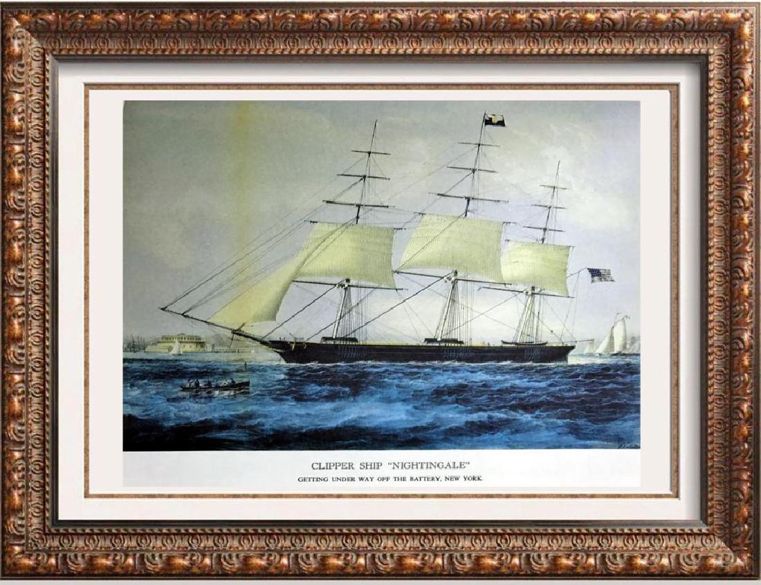 Clipper Ship Nightingale Color Lithographic Fine Art