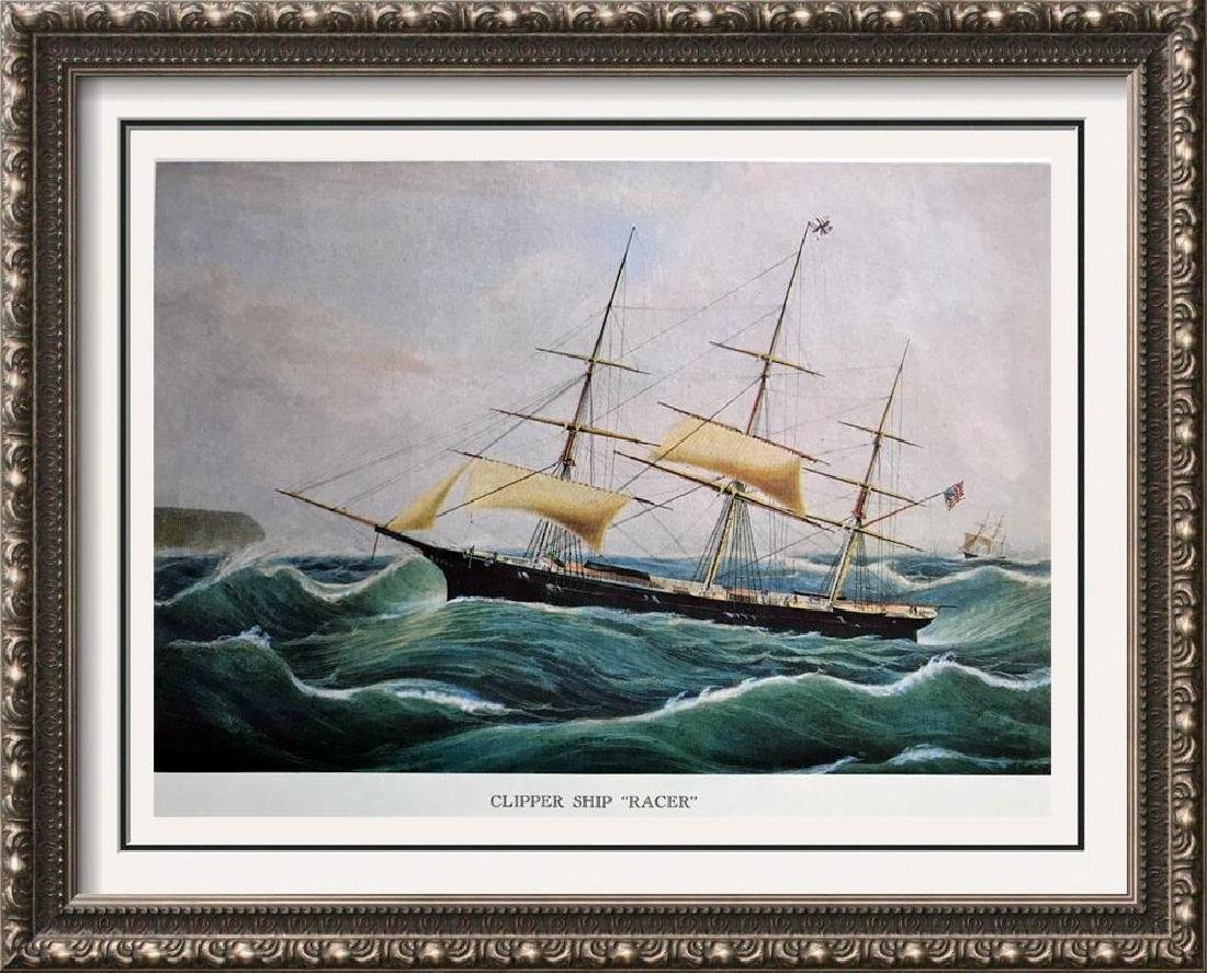 Clipper Ship Racer Color Lithographic Fine Art Print