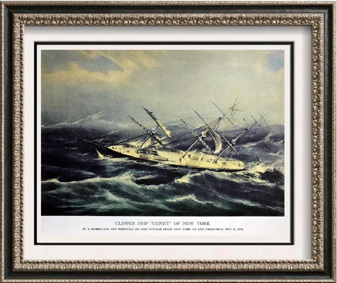 Clipper Ship Comet Of New York Color Lithographic Fine