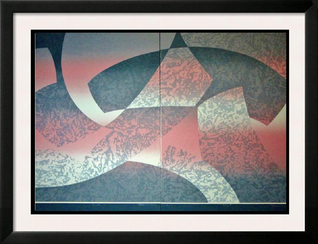 2 Piece Suite Abstract Geometric Modern Ltd Ed Signed