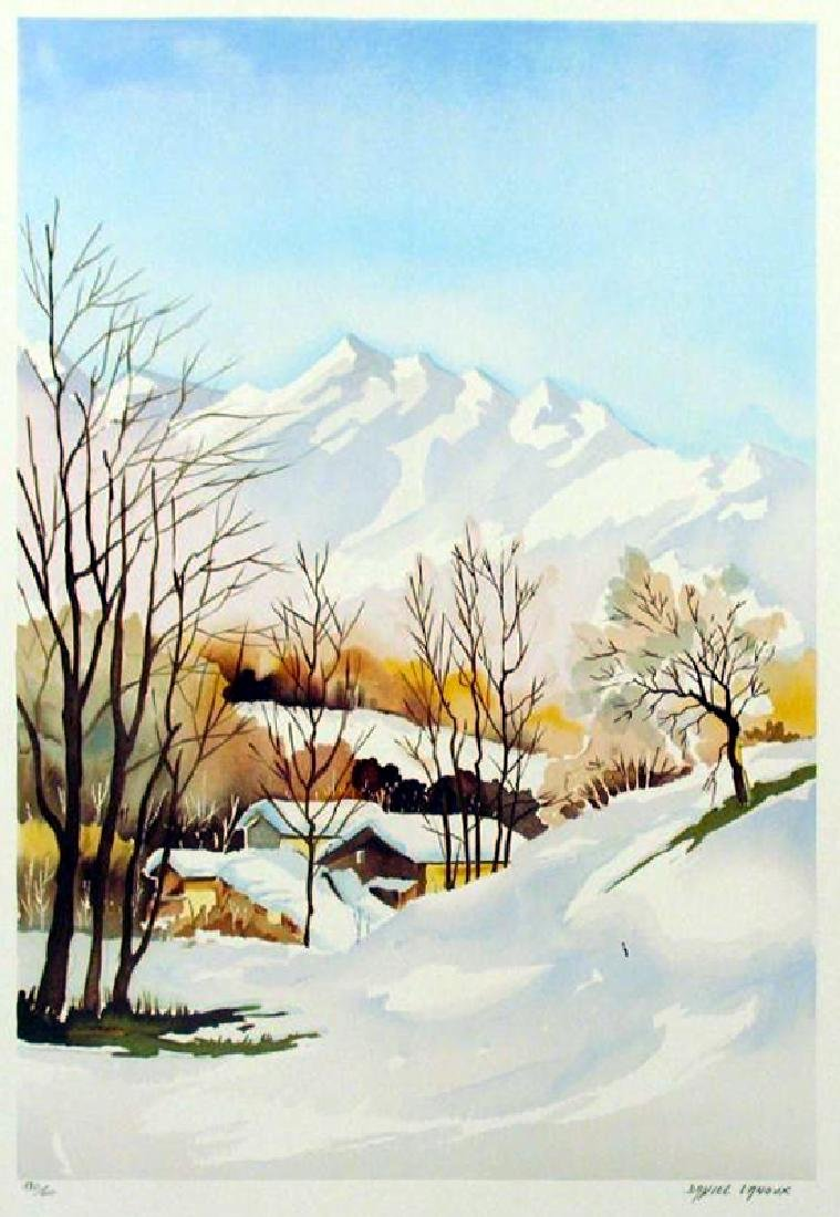 TRADITIONAL WINTER SCENE SIGNED ART SALE