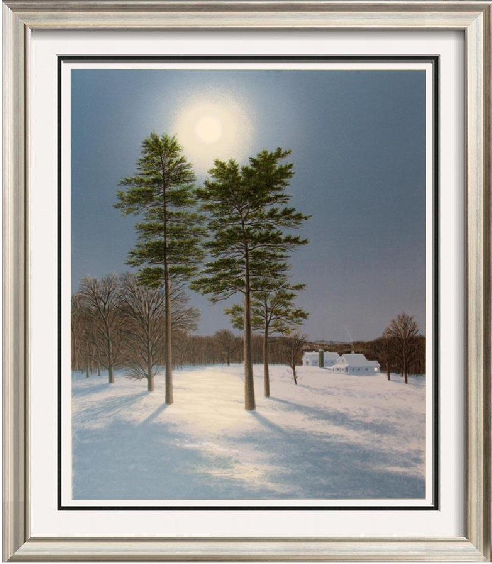 Full Moon Winter Night Scene Signed Serigraph