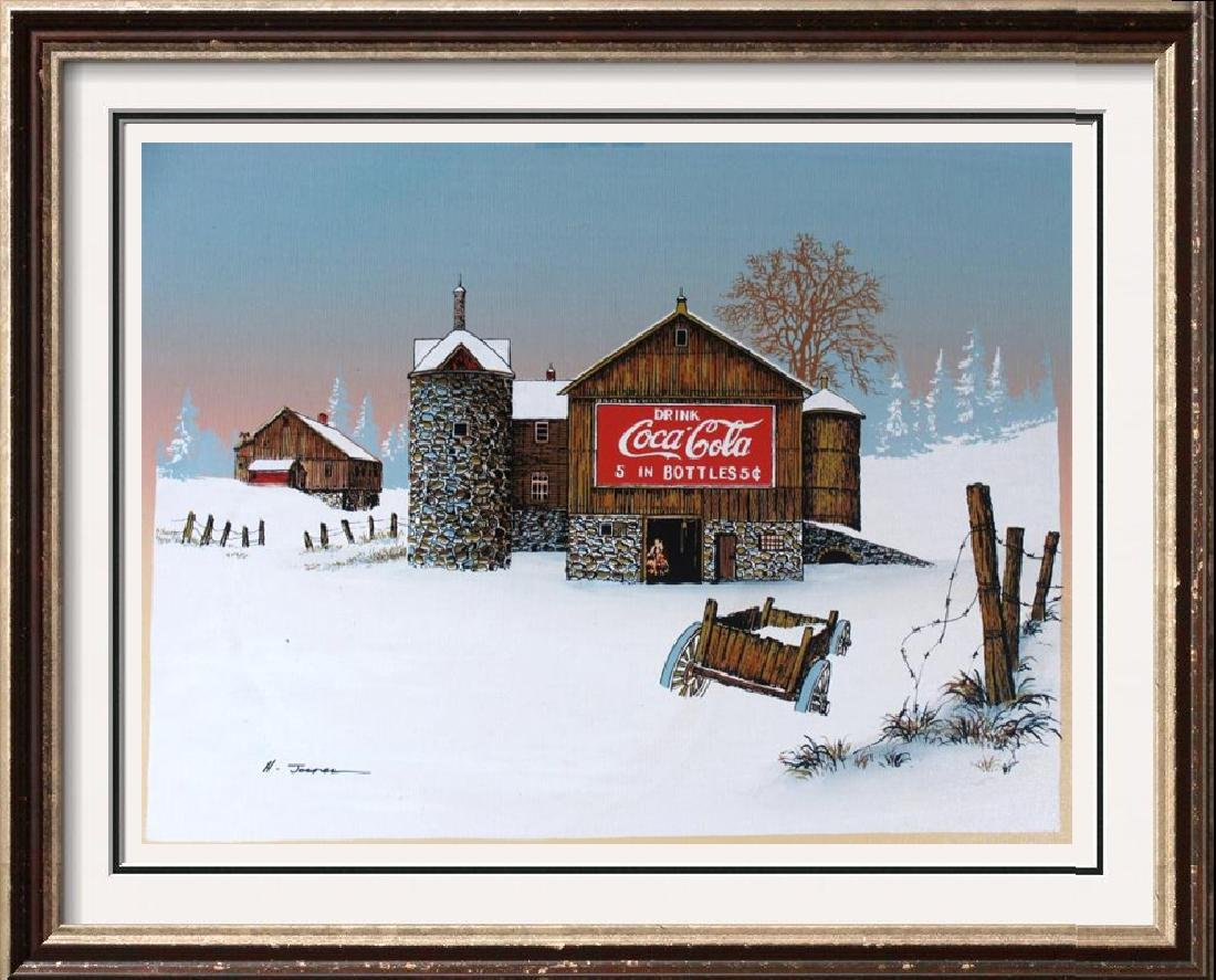 Coca Cola Old Coke Sign on Barn Realism on Canvas