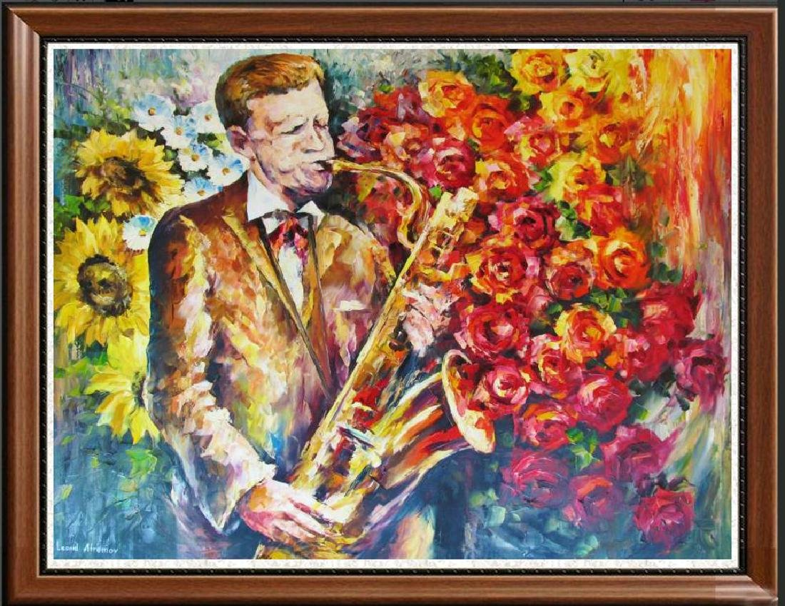 Sax & Floral Bold Colorful Jazz Original Painting