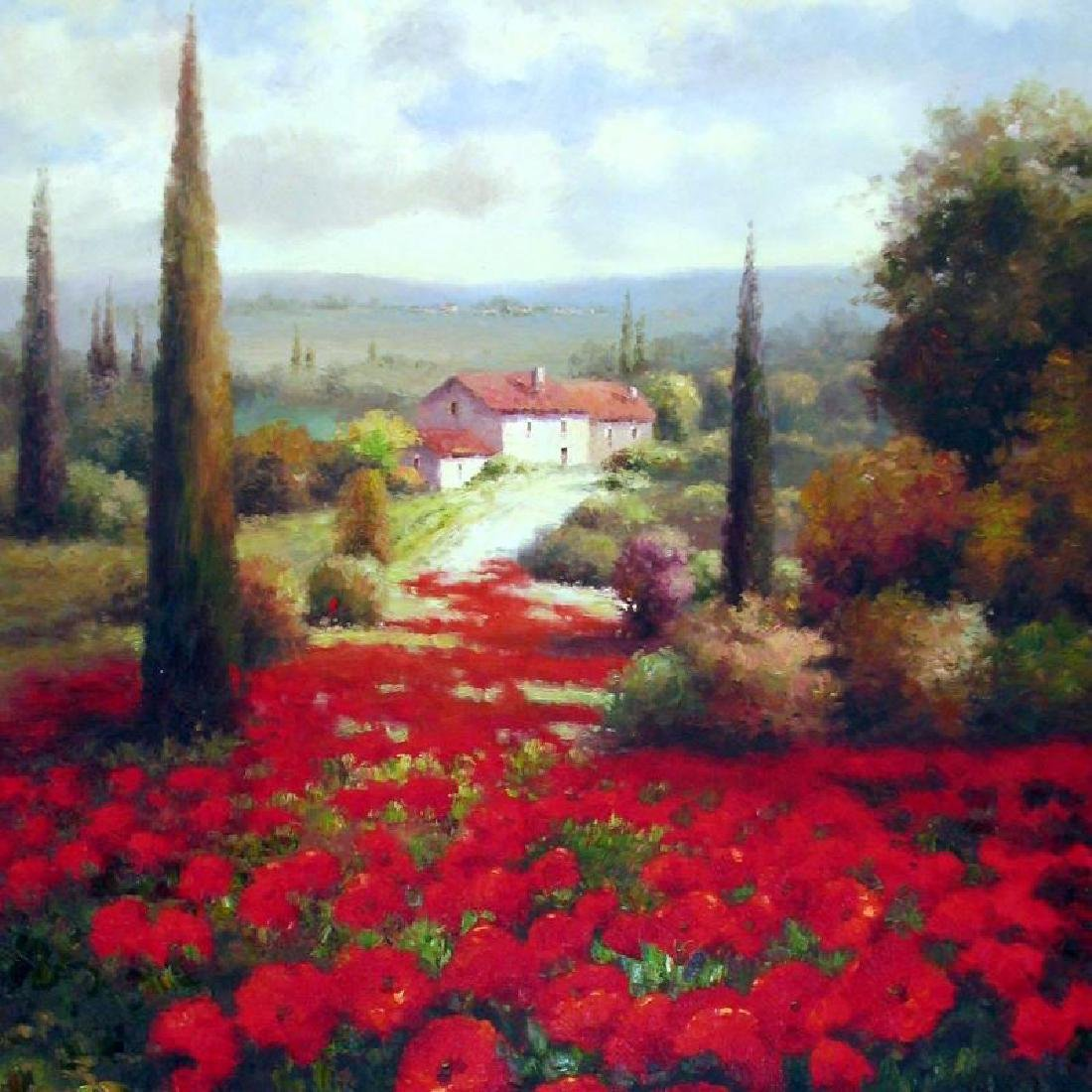RED Poppy Field Textured HUGE ART Dealer Liquidation