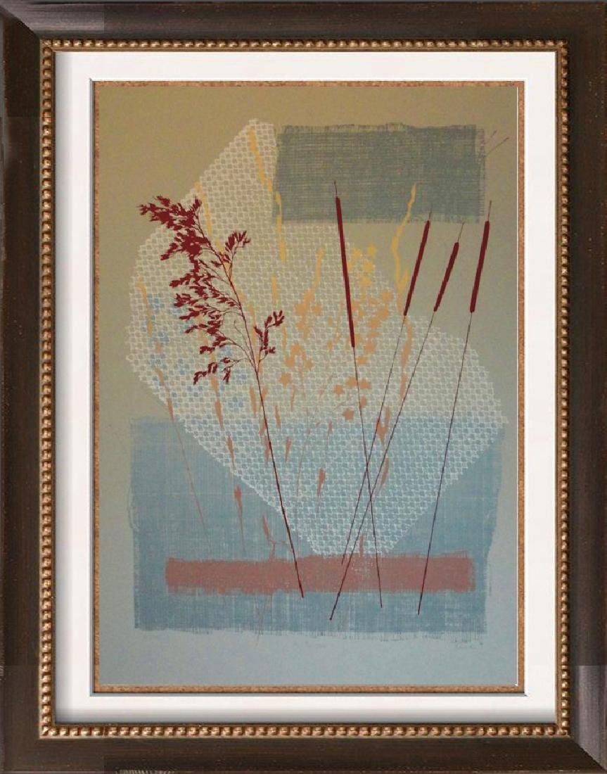 Rustic Abstract Litho on Paper Signed Art