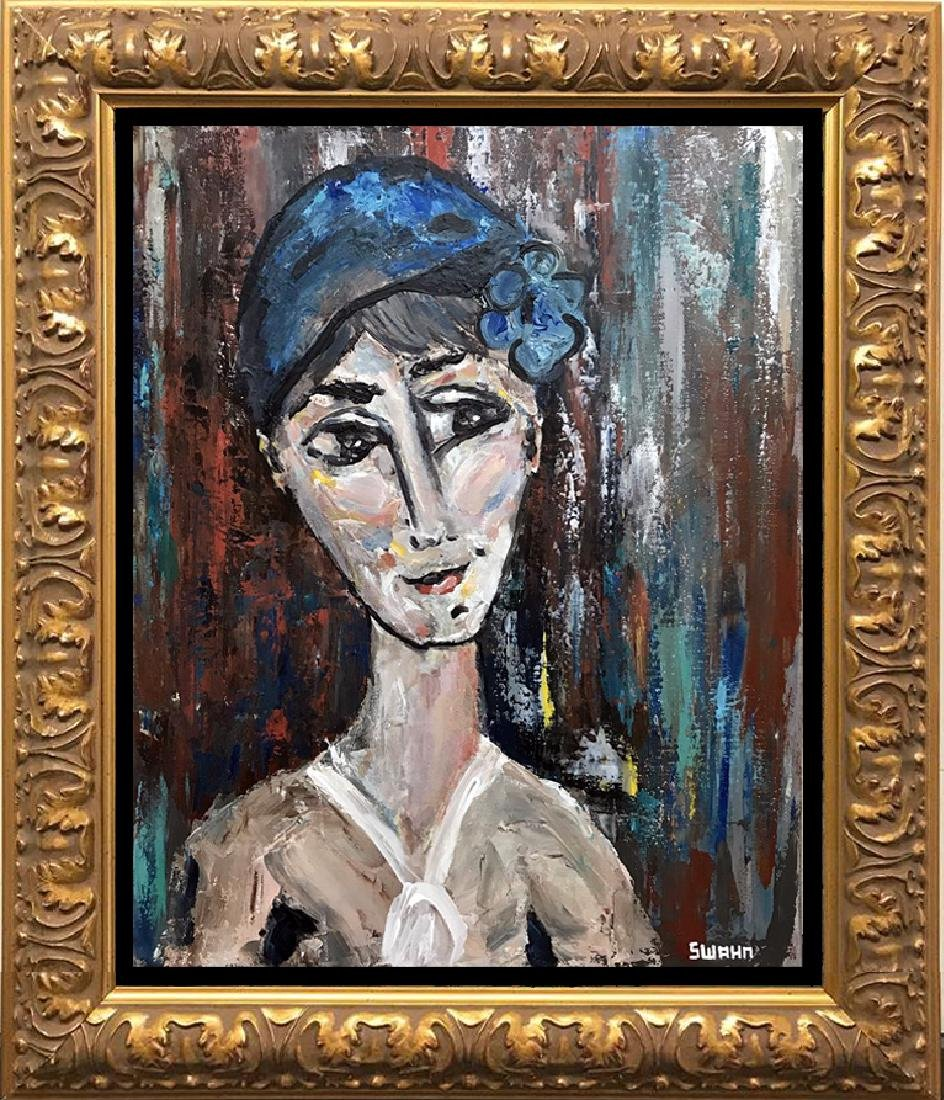 Modigliani style figurative abstract Adoration
