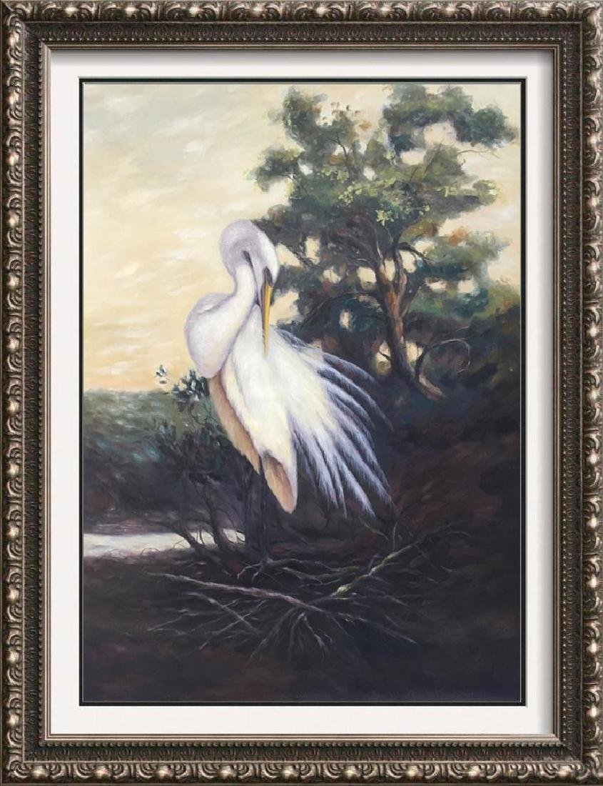 American Beauty Egret Realism Huge Original Painting on