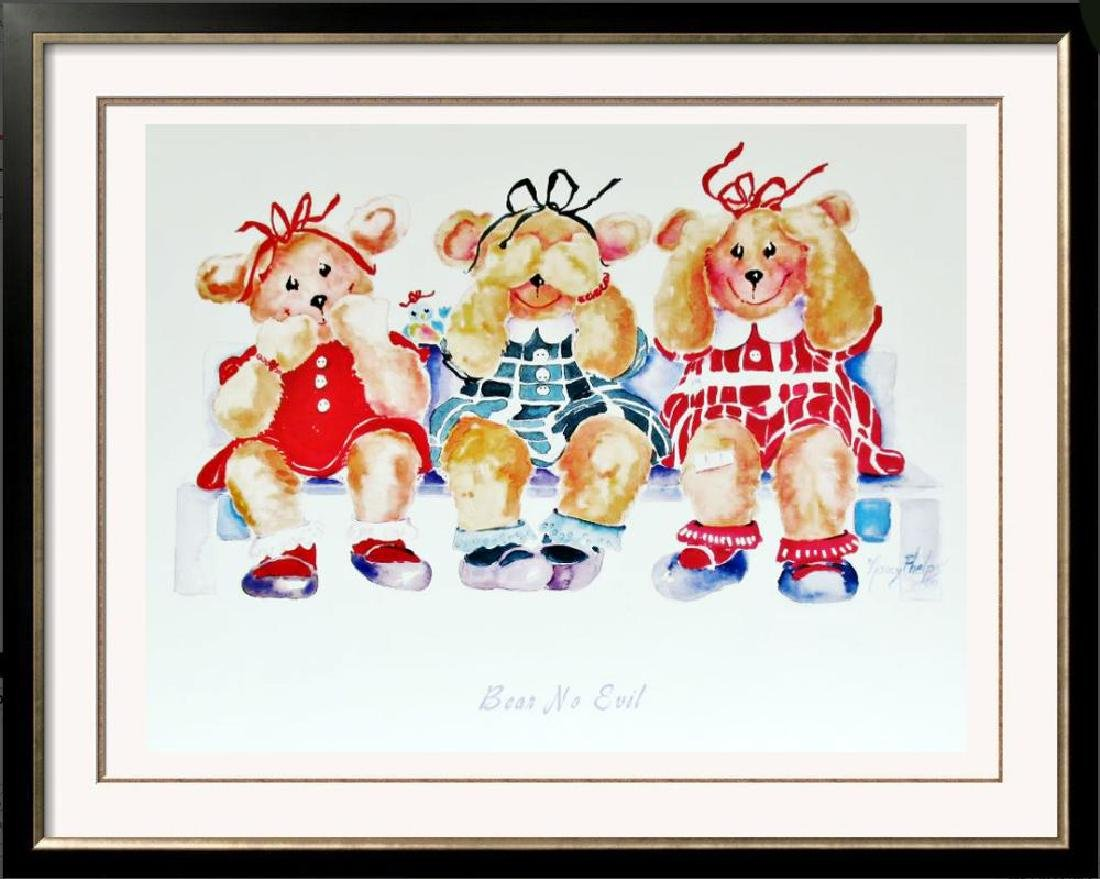 Bear No Evil Cute Kids Poster Plate Signed
