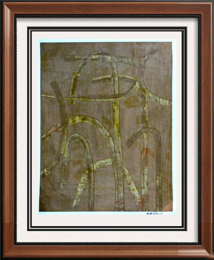 Abstract Original Painting on Paper Signed Indian Art