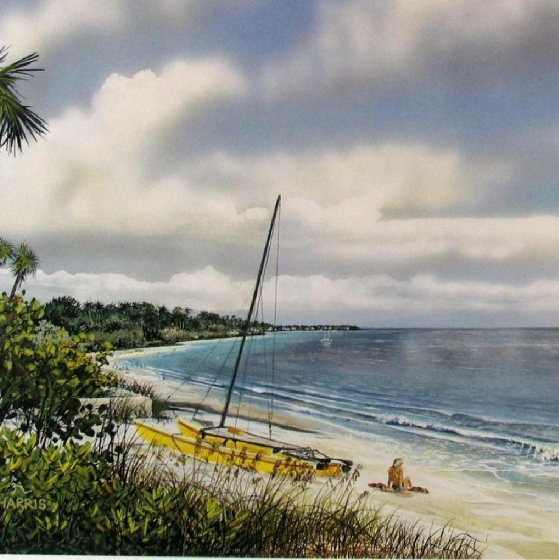 Beach Scene Simbari Style Colorful Lithograph Sale - 2