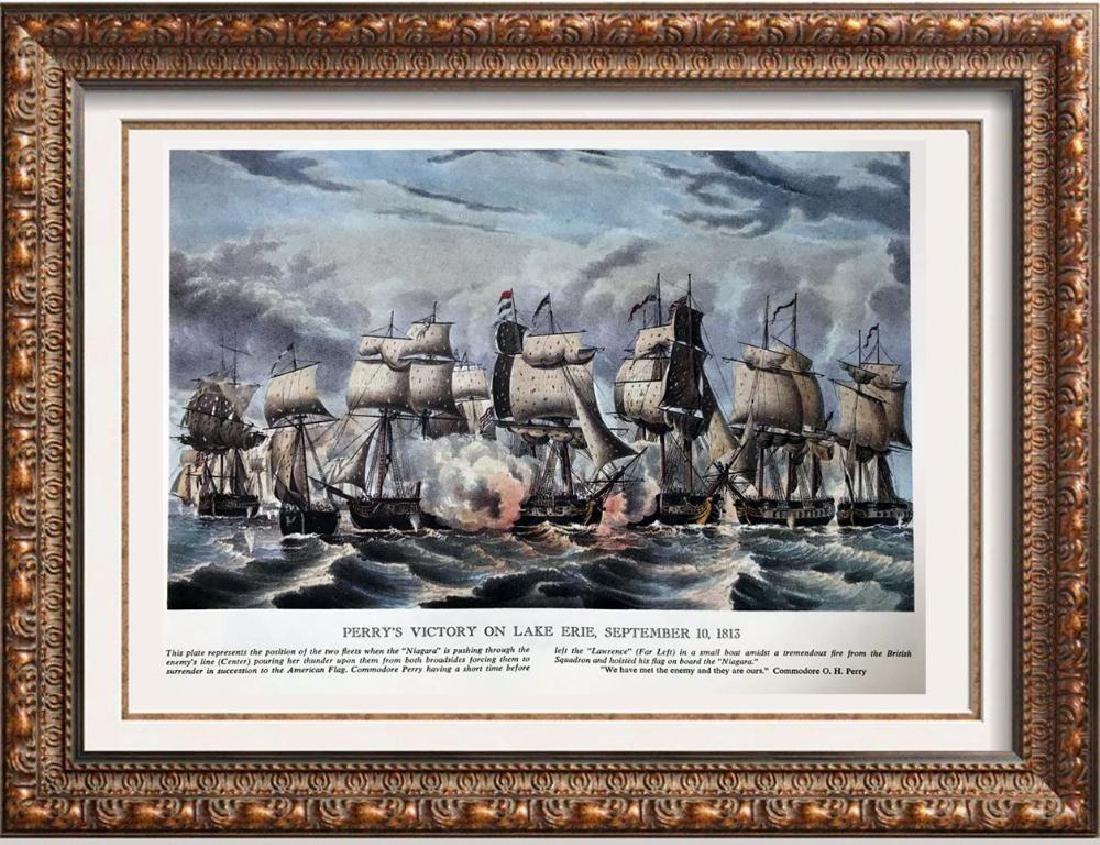 Perry's Victory On Lake Erie Color Lithographic Fine
