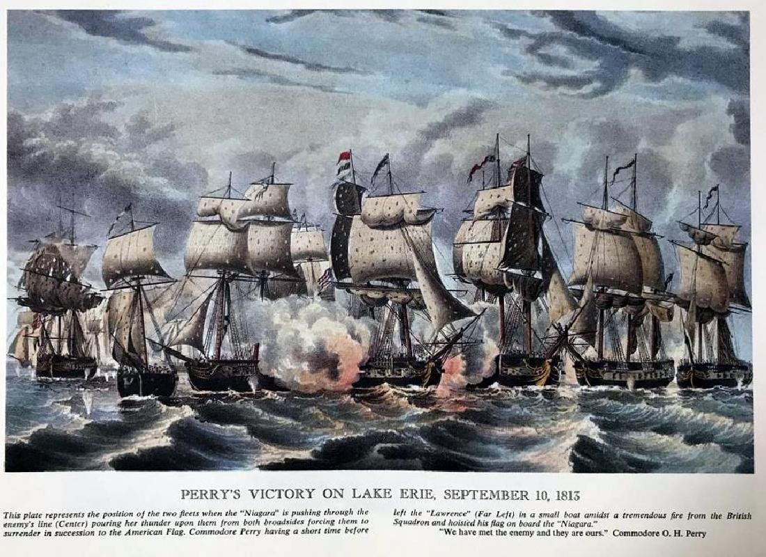 Perry's Victory On Lake Erie Color Lithographic Fine - 2