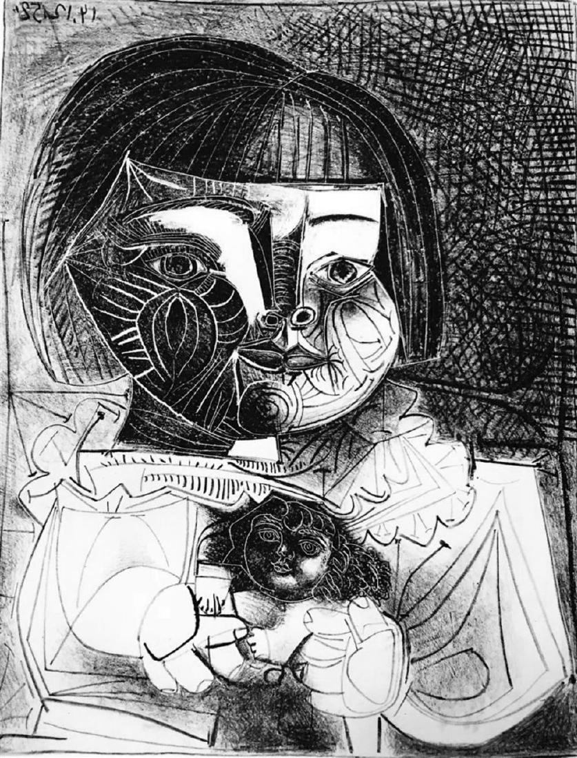 Pablo Picasso 'After'  Paloma and Her Doll c. 1952 Fine - 2
