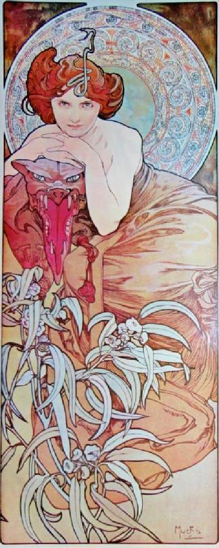 3 Large Mucha Repro Antique Poster Art Prints 48X18 - 2