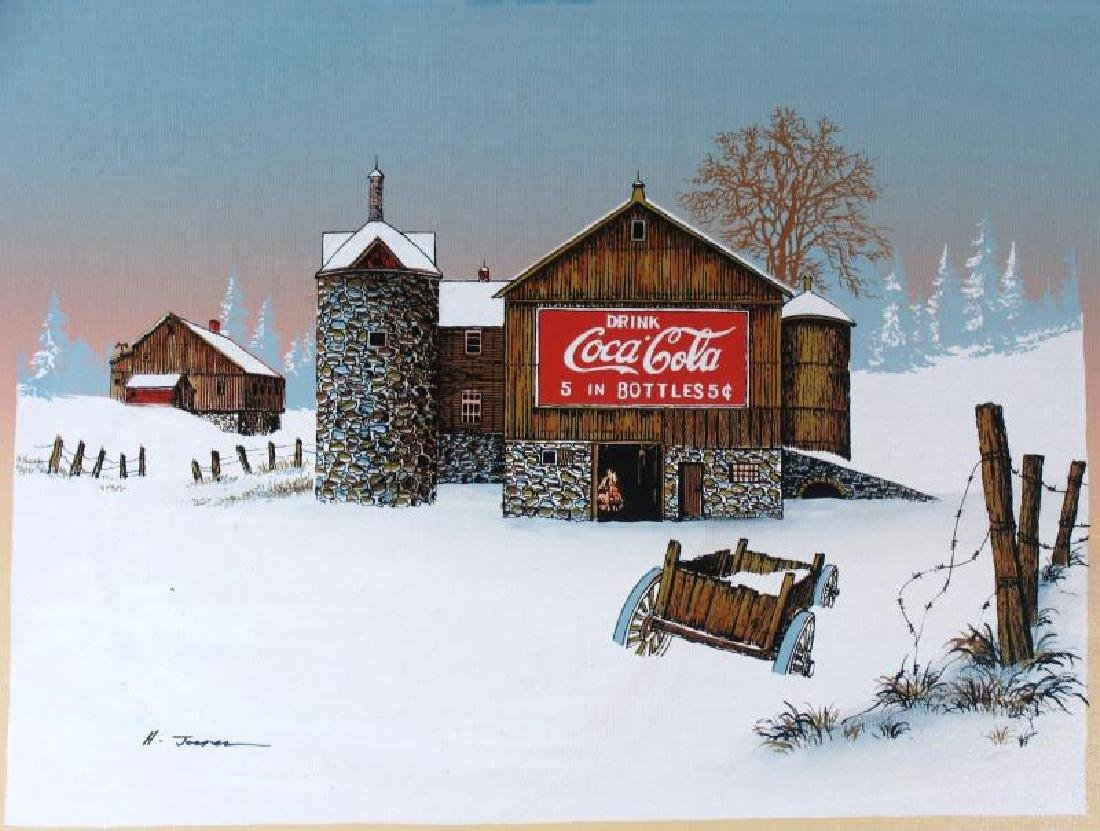 Coca Cola Old Coke Sign on Barn Realism on Canvas - 2