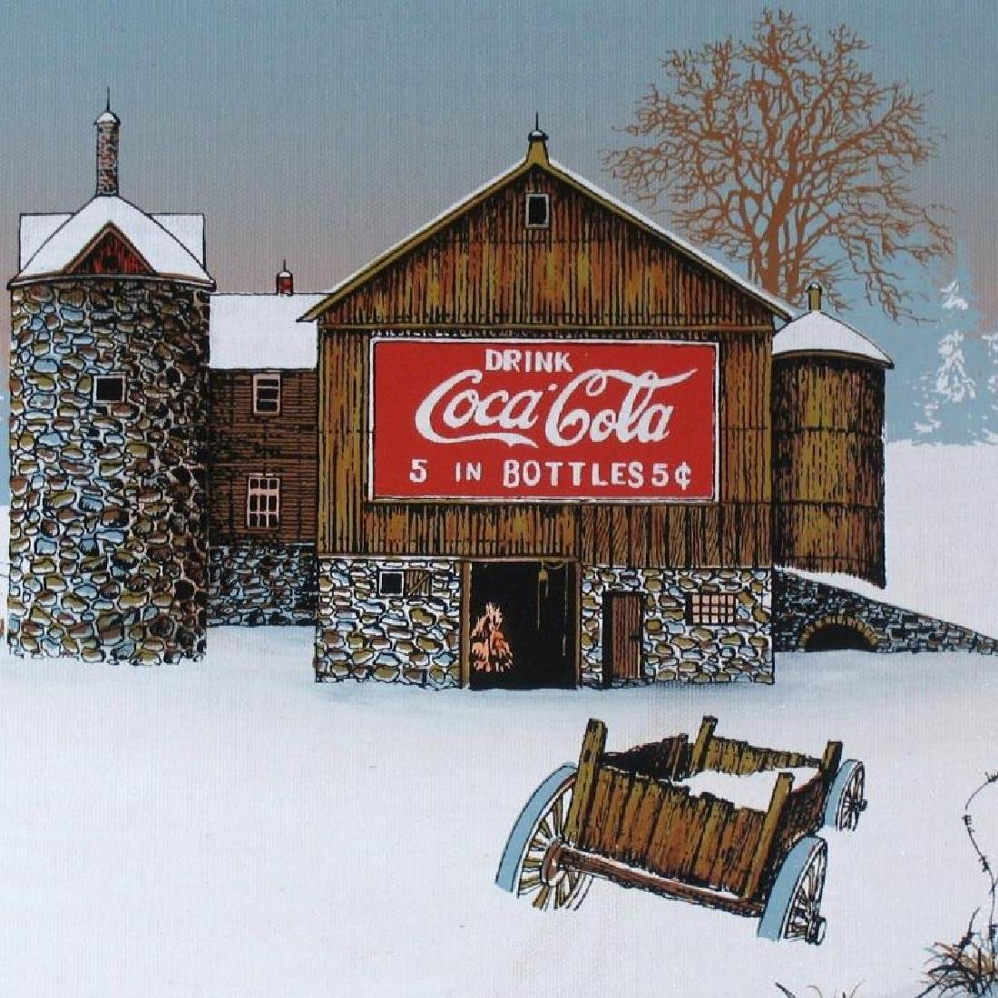 Coca Cola Old Coke Sign on Barn Realism on Canvas - 3
