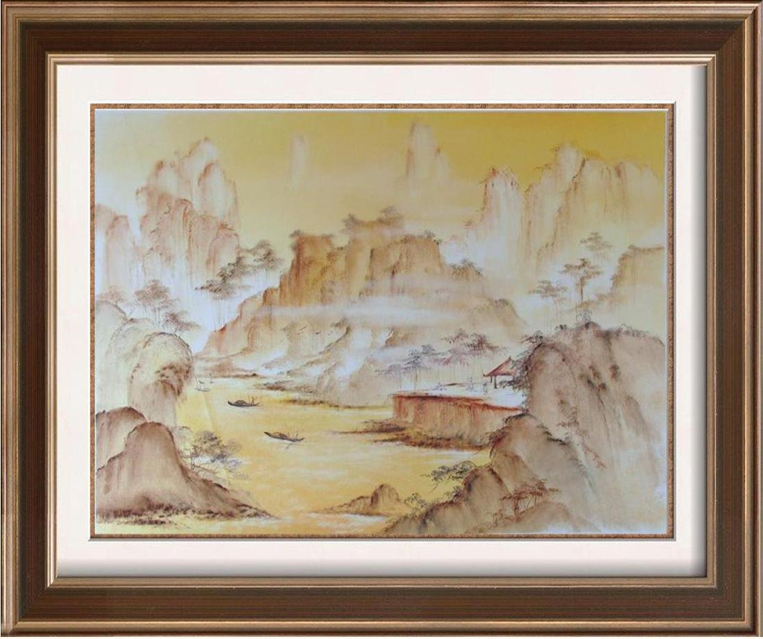 Asian Watercolor on Canvas Abstract Village Scene