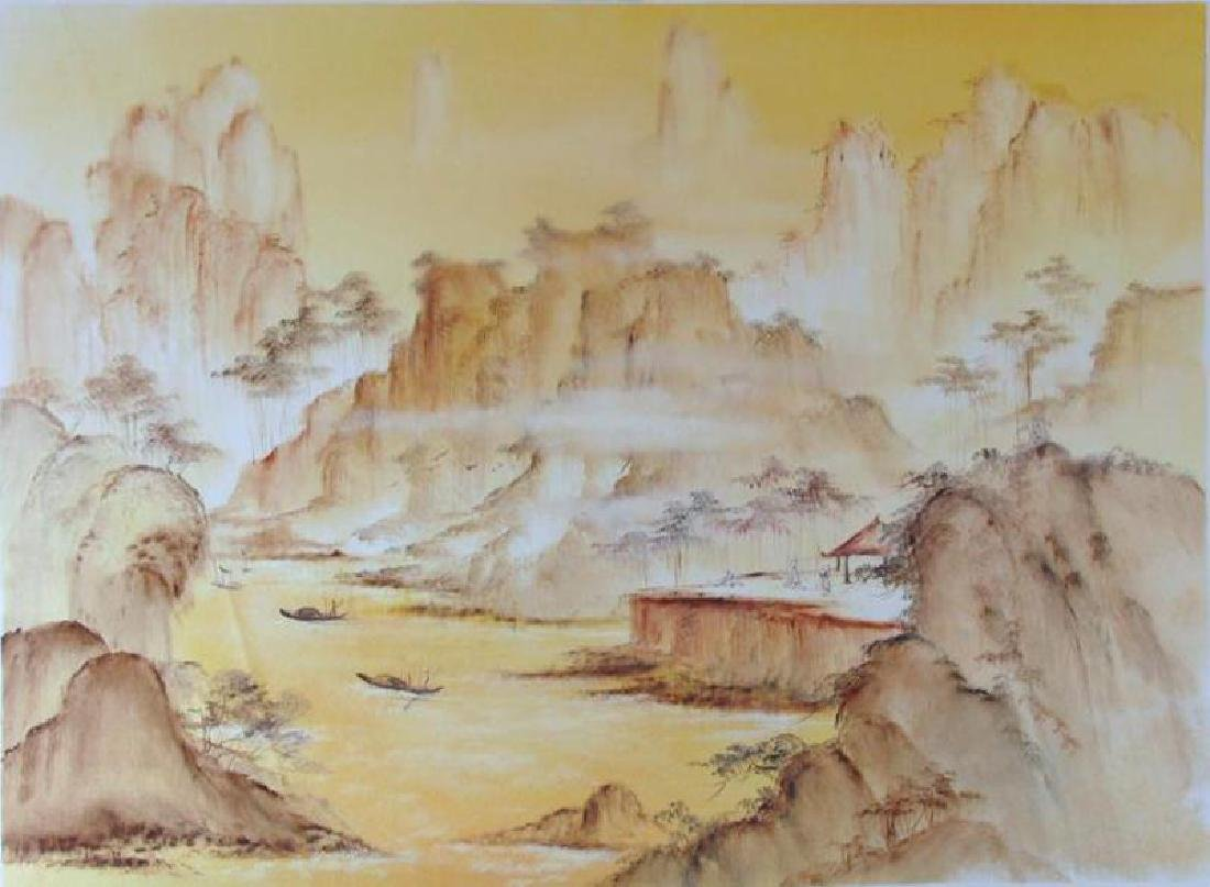 Asian Watercolor on Canvas Abstract Village Scene - 2